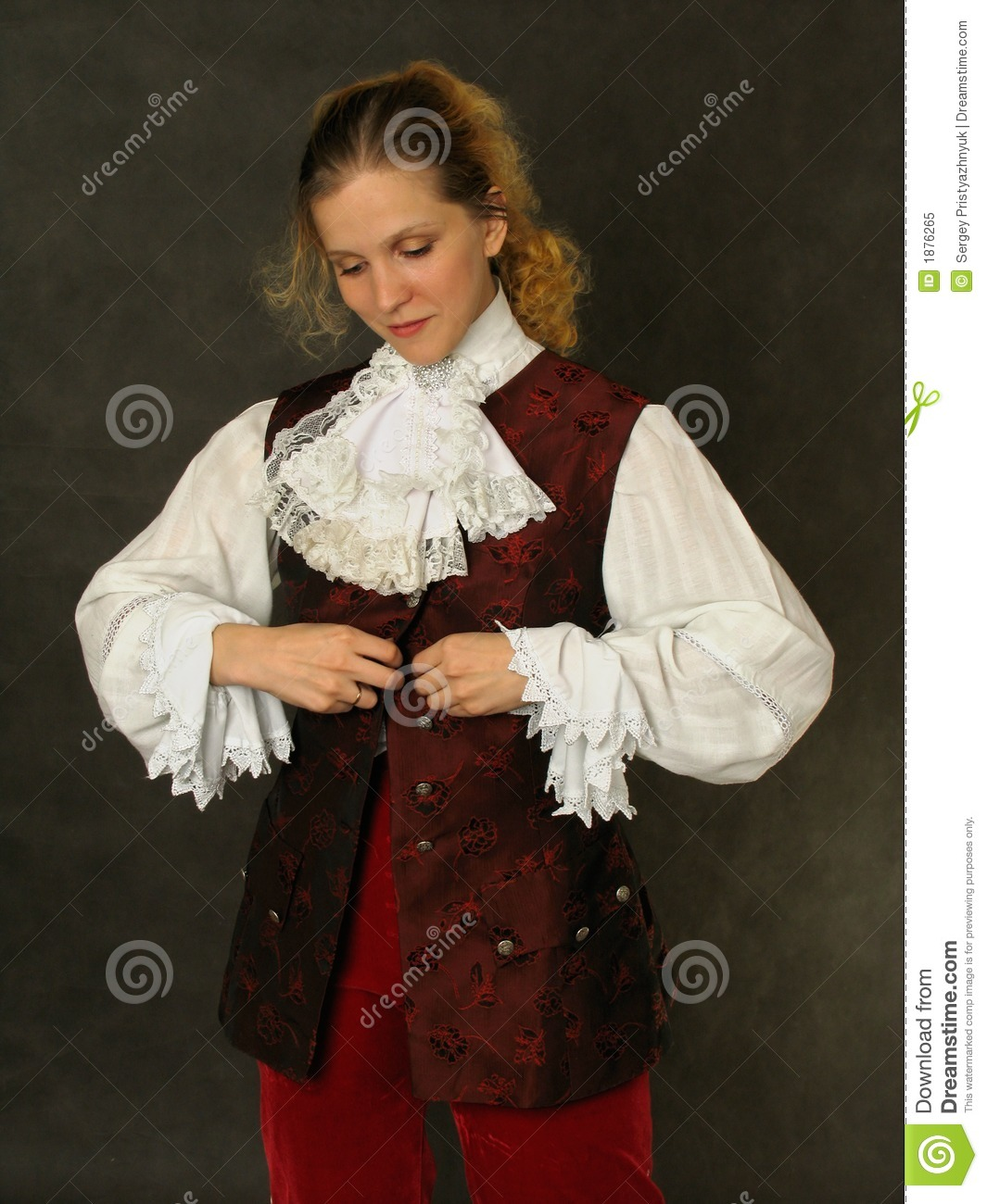 Woman In Old French Clothes Stock Image