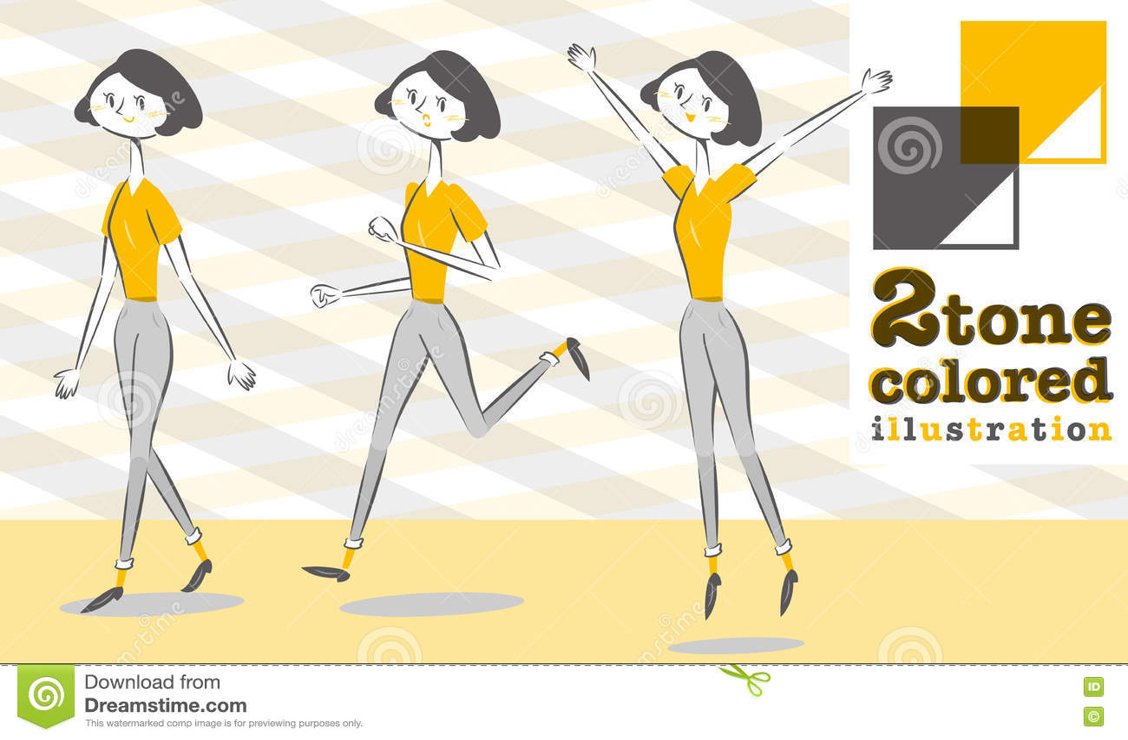 Woman Pants Style In Smart Form Walk Run Jump Stock Vector
