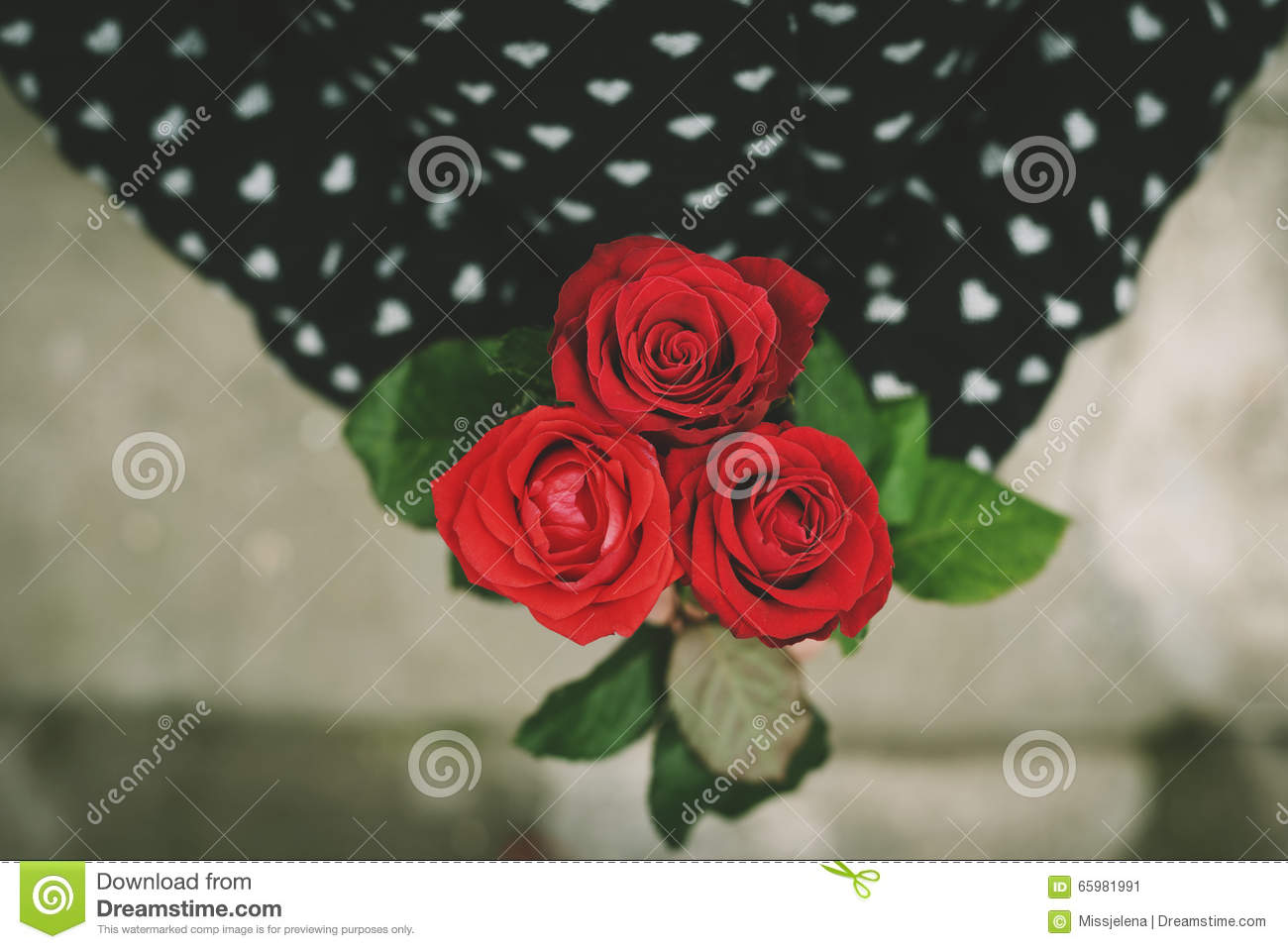 Female Hands Holding A Red Roses Heart Stock Photography