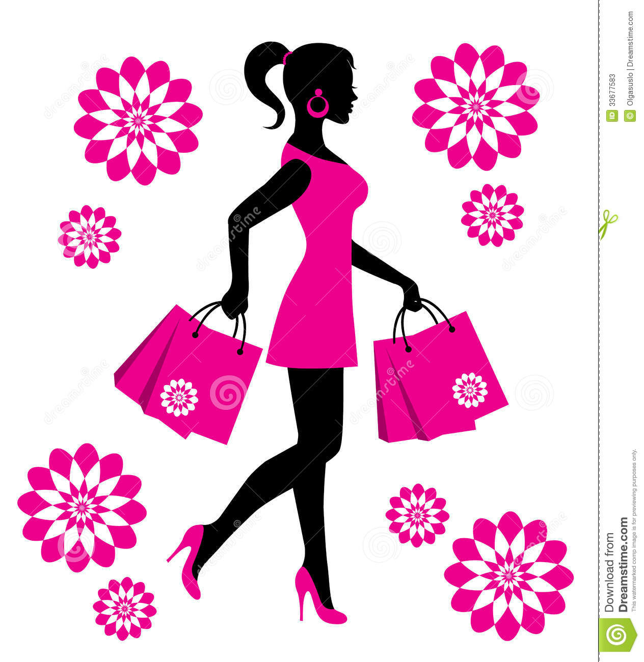 Woman With Shopping Bags Stock Illustration Illustration