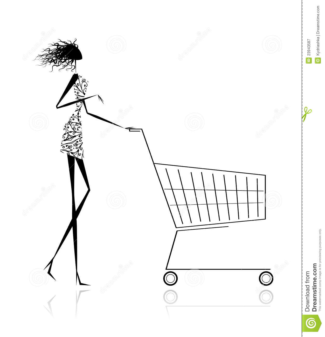Woman With Shopping Cart For Your Design Stock Vector