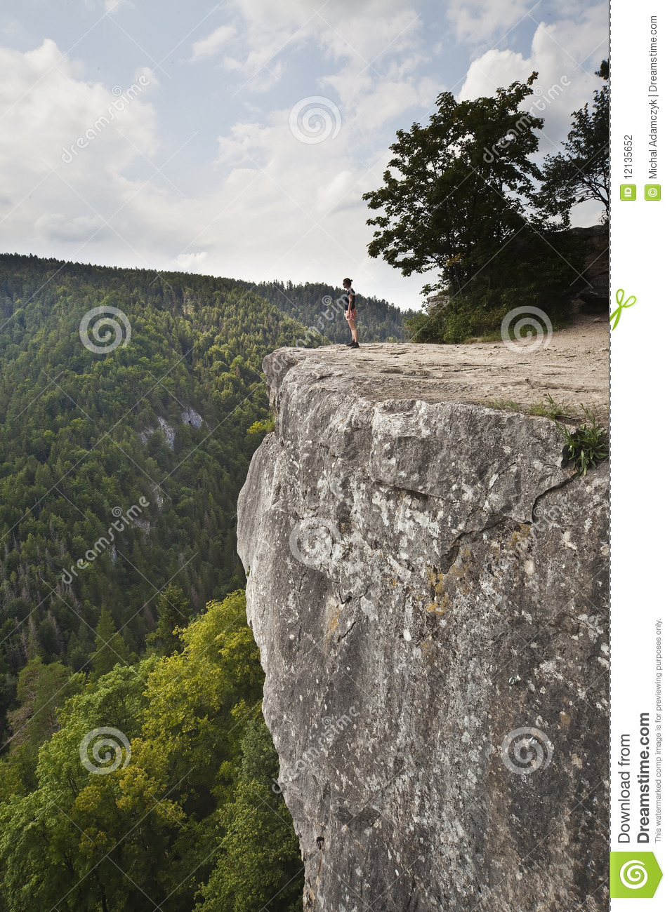 Woman Standing On Big Rock Stock Photo Image Of Nature