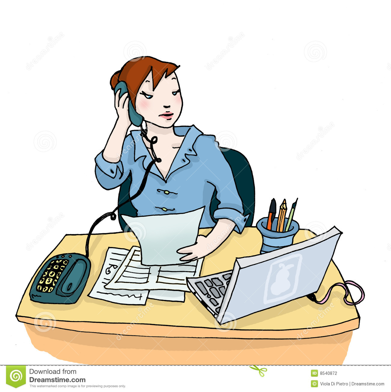 busy young woman at work in her office digital colors