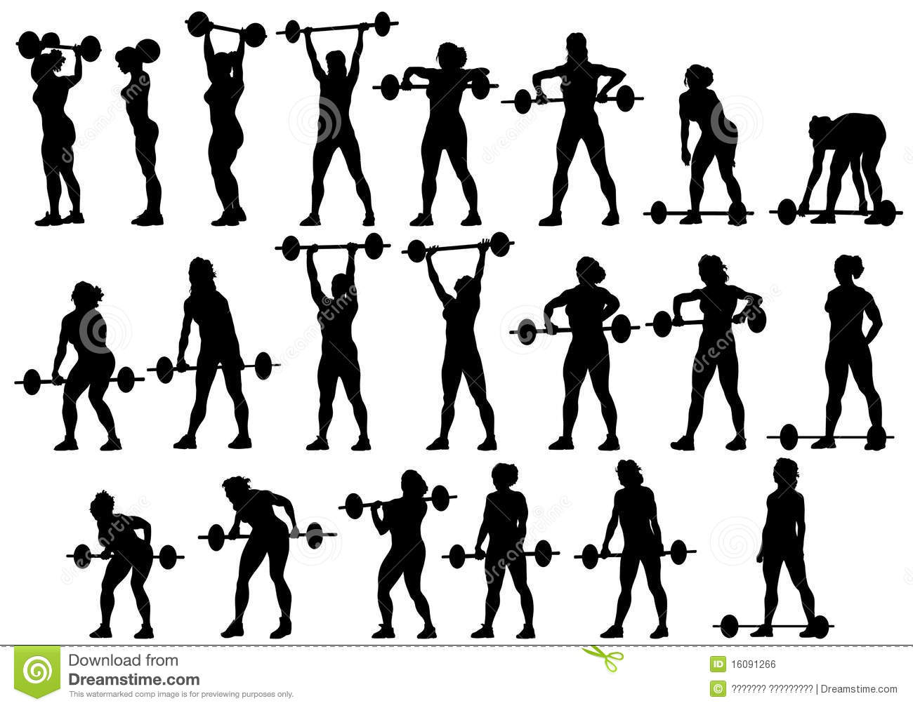 Women With Barbell Stock Vector Illustration Of Health