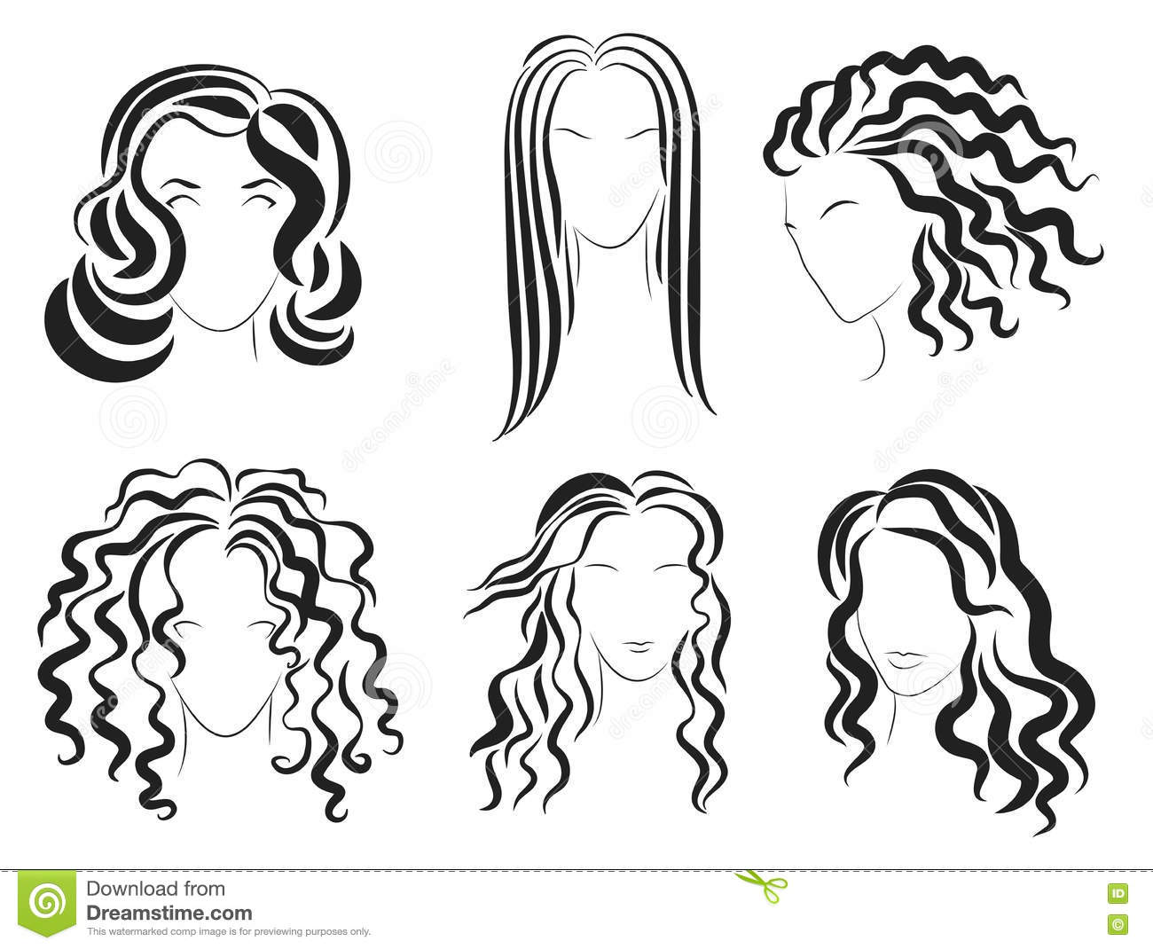 Women Face Hair Style Silhouette Logo Vector Illustration