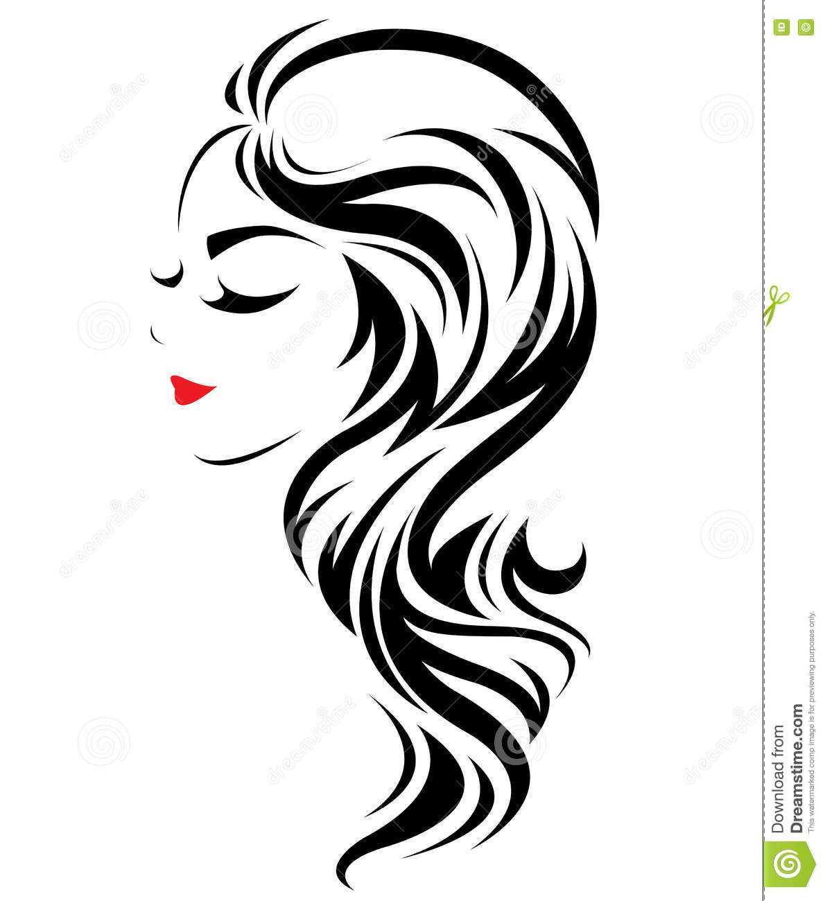Women Long Hair Style Icon Logo Women Face On White
