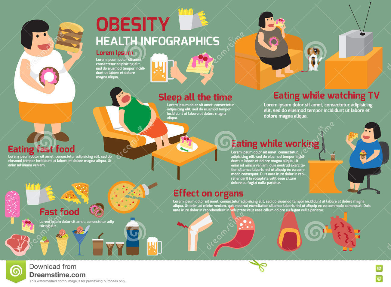Obesity Infographics Template Vector Illustration