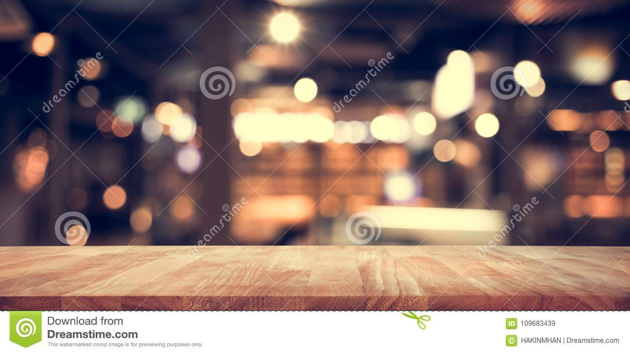 https www dreamstime com wood table top bar blur light bokeh dark night cafe restaurant background lifestyle celebration concepts ideas wood image109683439