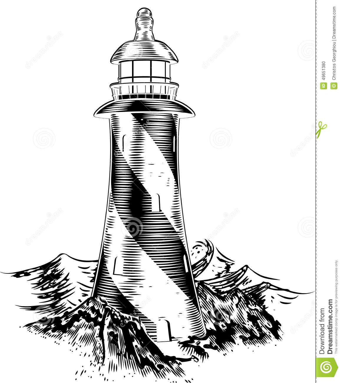 Woodblock Style Lighthouse Stock Vector Illustration Of