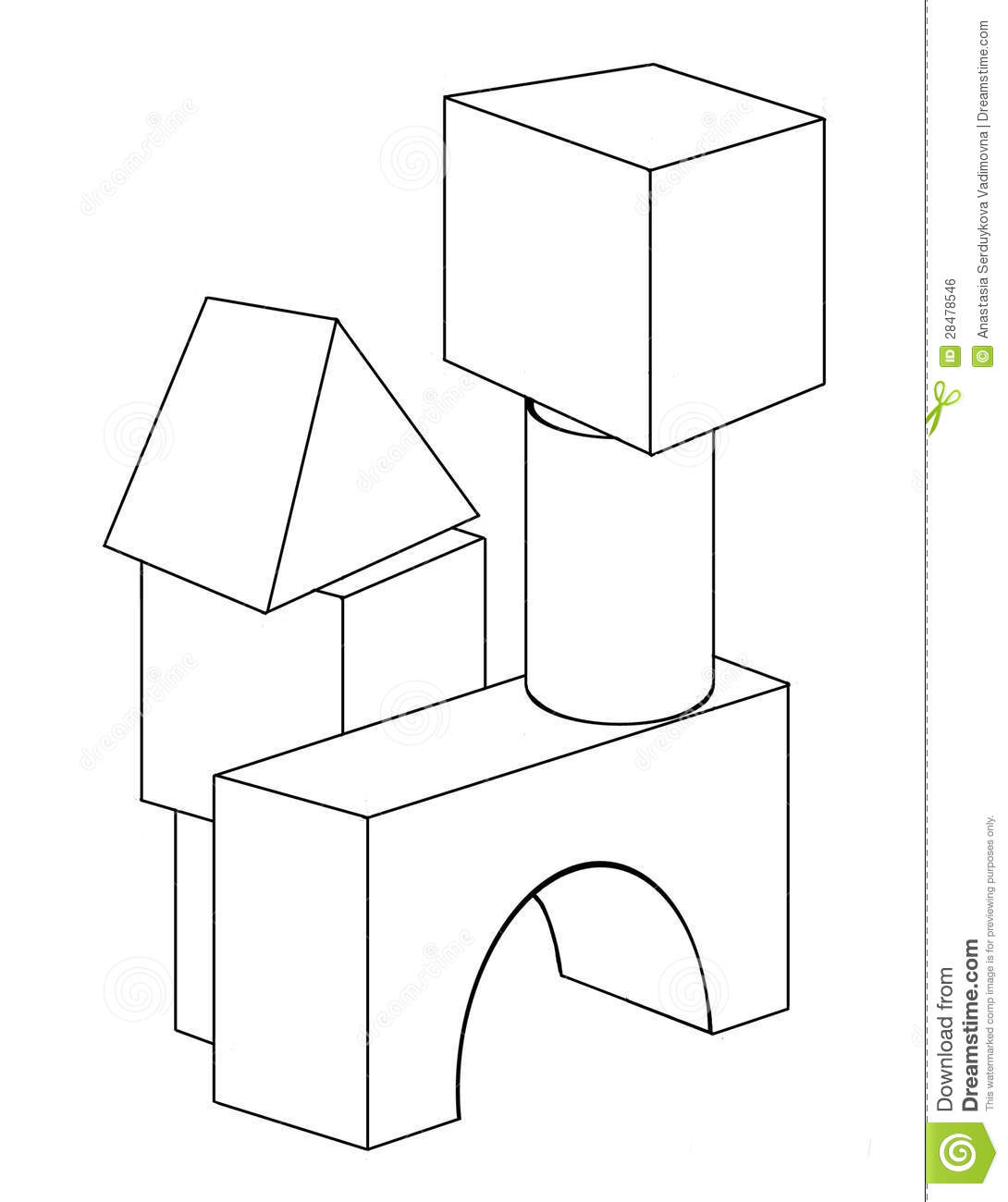 Wooden Blocks Stock Vector Image Of Coloring Book
