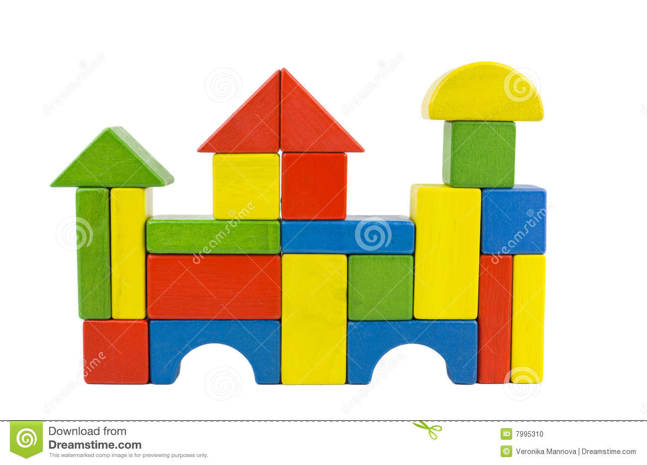 castle house castle created of colorful wooden toy blocs in red