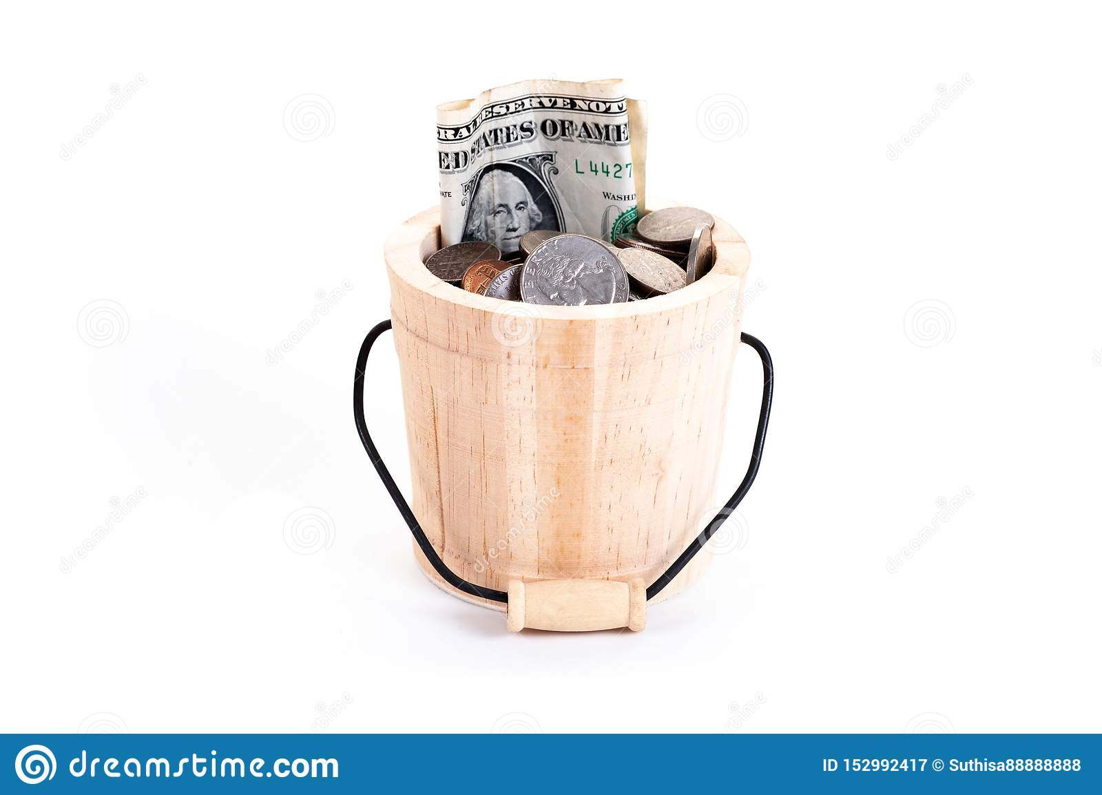 Wooden Bucket And Money Us Dollars Bank Notes Penny
