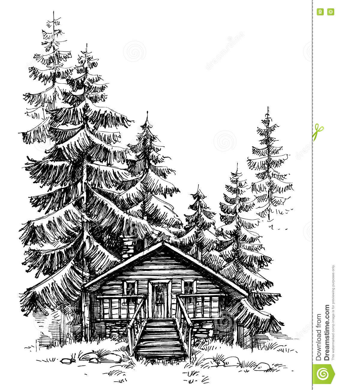 A Wooden Cabin In The Pine Forest Stock Vector