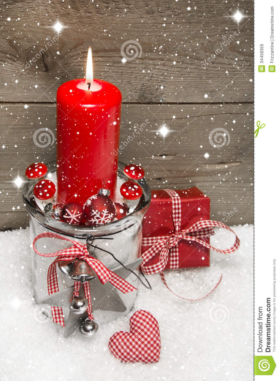 Wooden Christmas Background With A Red Candle And A Gift