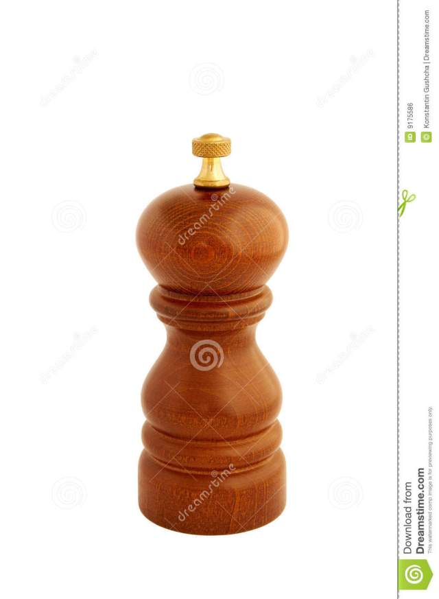 Wooden Pepper Mill isolated on white background with path.