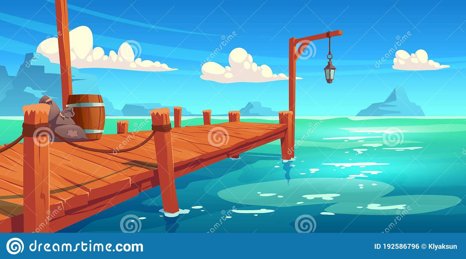 Wooden Pier On River Lake Or Sea Landscape Wharf Stock