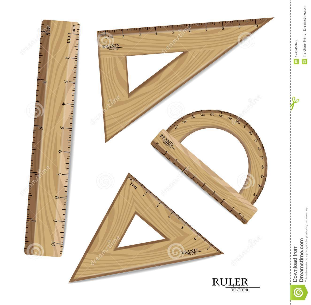 Wooden Rulers Drawing Set Vector Realistic Protractor
