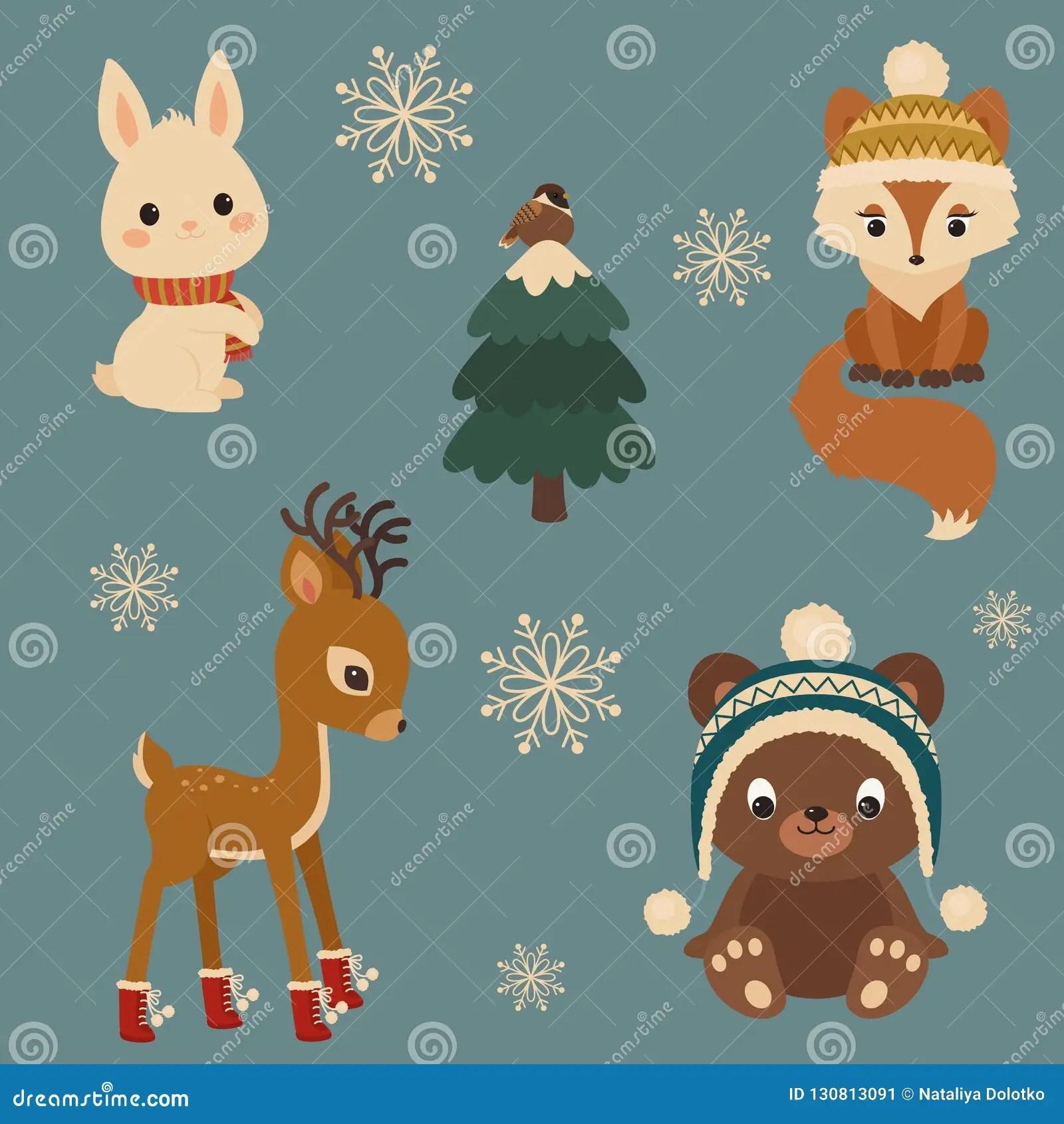Woodland Animals Winter Time White Bunny Rabbit Fox