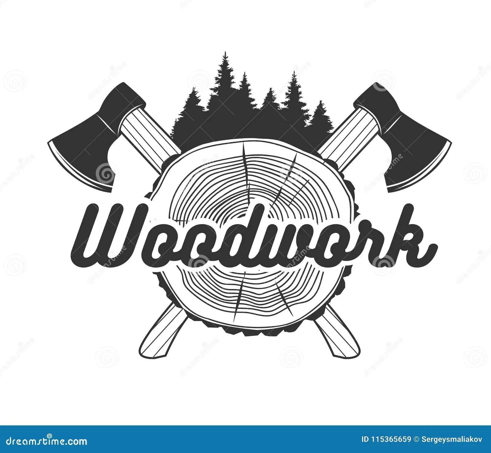 Woodworking Logo Template Stock Vector