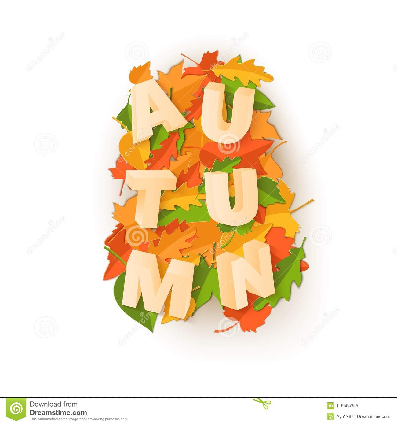 Word Autumn Composition With Green Yellow Red Leaves On