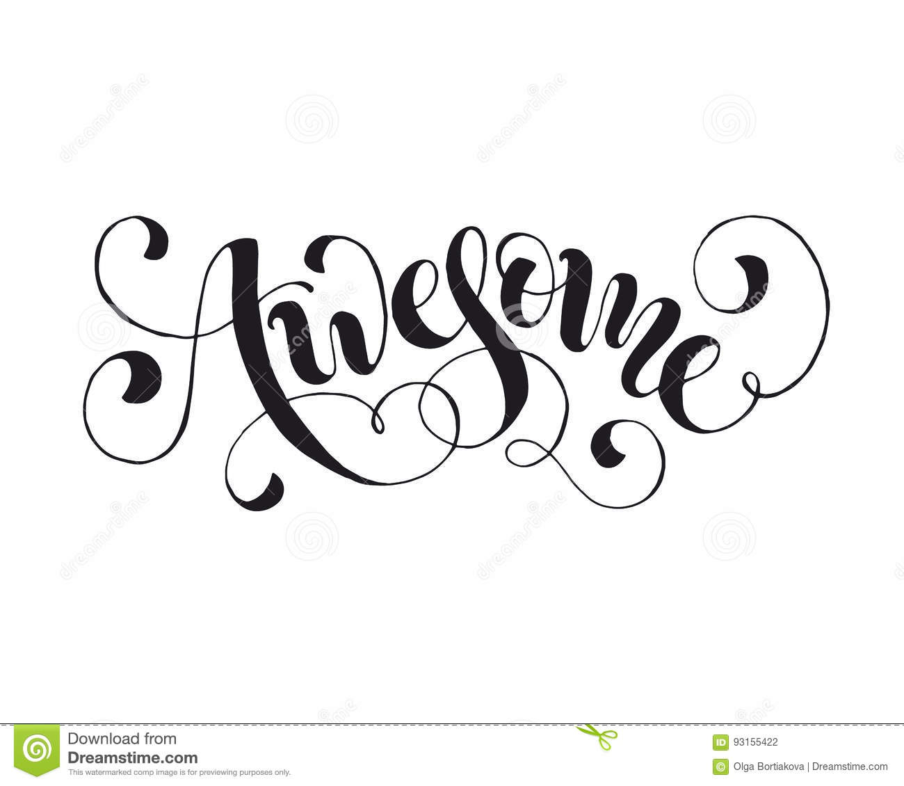 Word Awesome Isolated Stock Vector Illustration Of Phrase