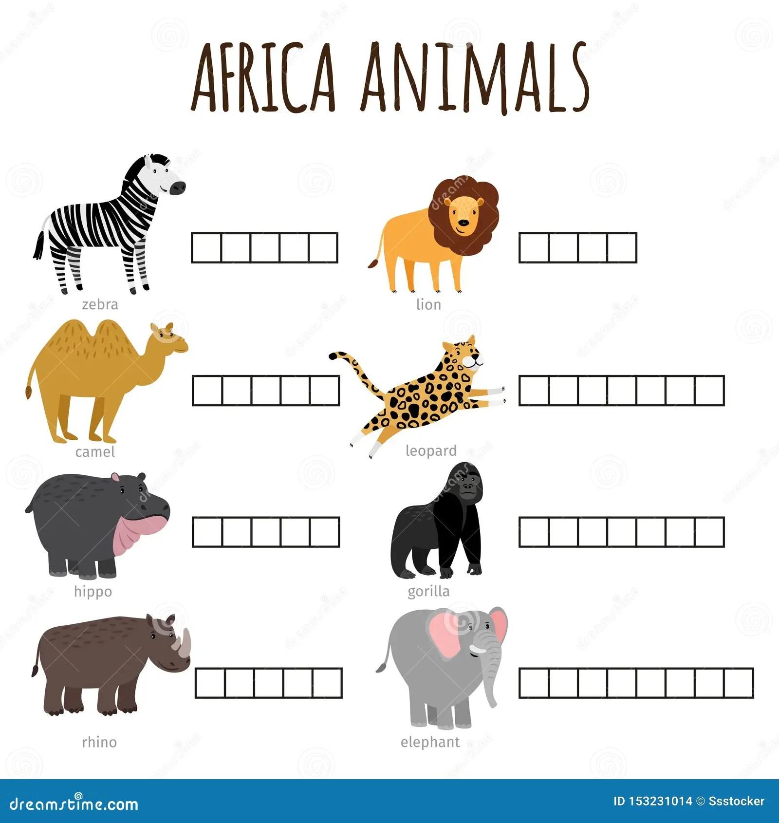 Crossword African Animals Puzzle Games Worksheet