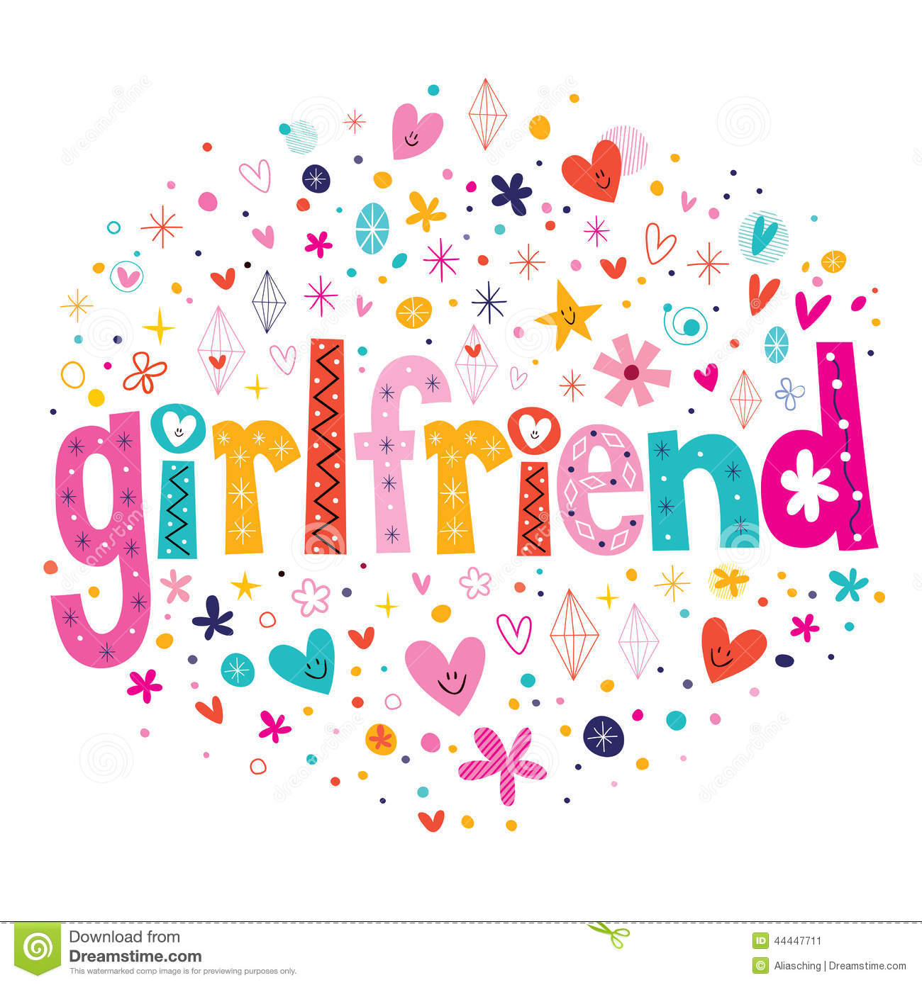 Word Girlfriend Typography Lettering Decorative Text Stock