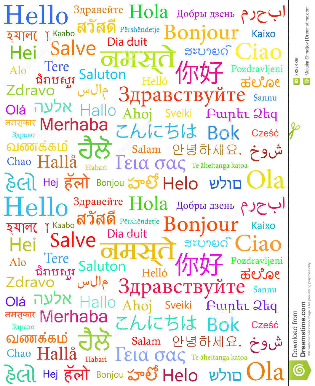 The Word Hello Written With The Different World Languages