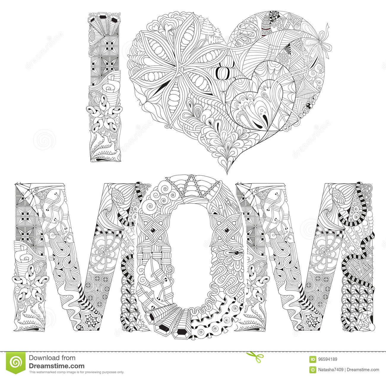 Word I Love Mom For Coloring Vector Decorative Zentangle