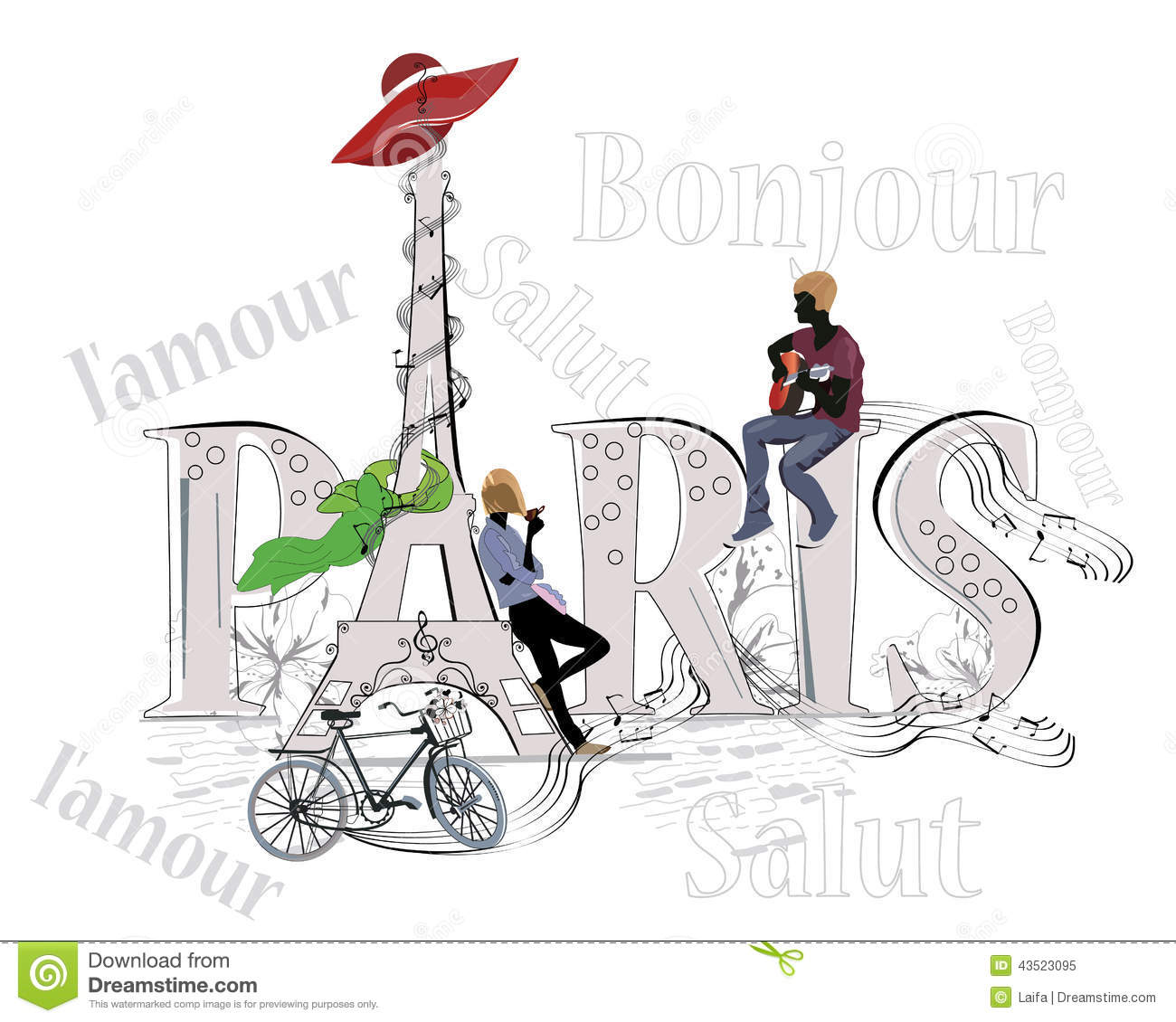 Word Paris Decorated With Eiffel Tower Stock Vector