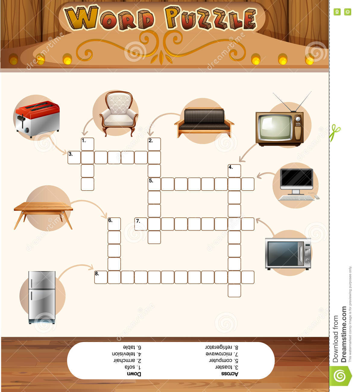 Word Puzzle Game With Objects In The House Stock Vector