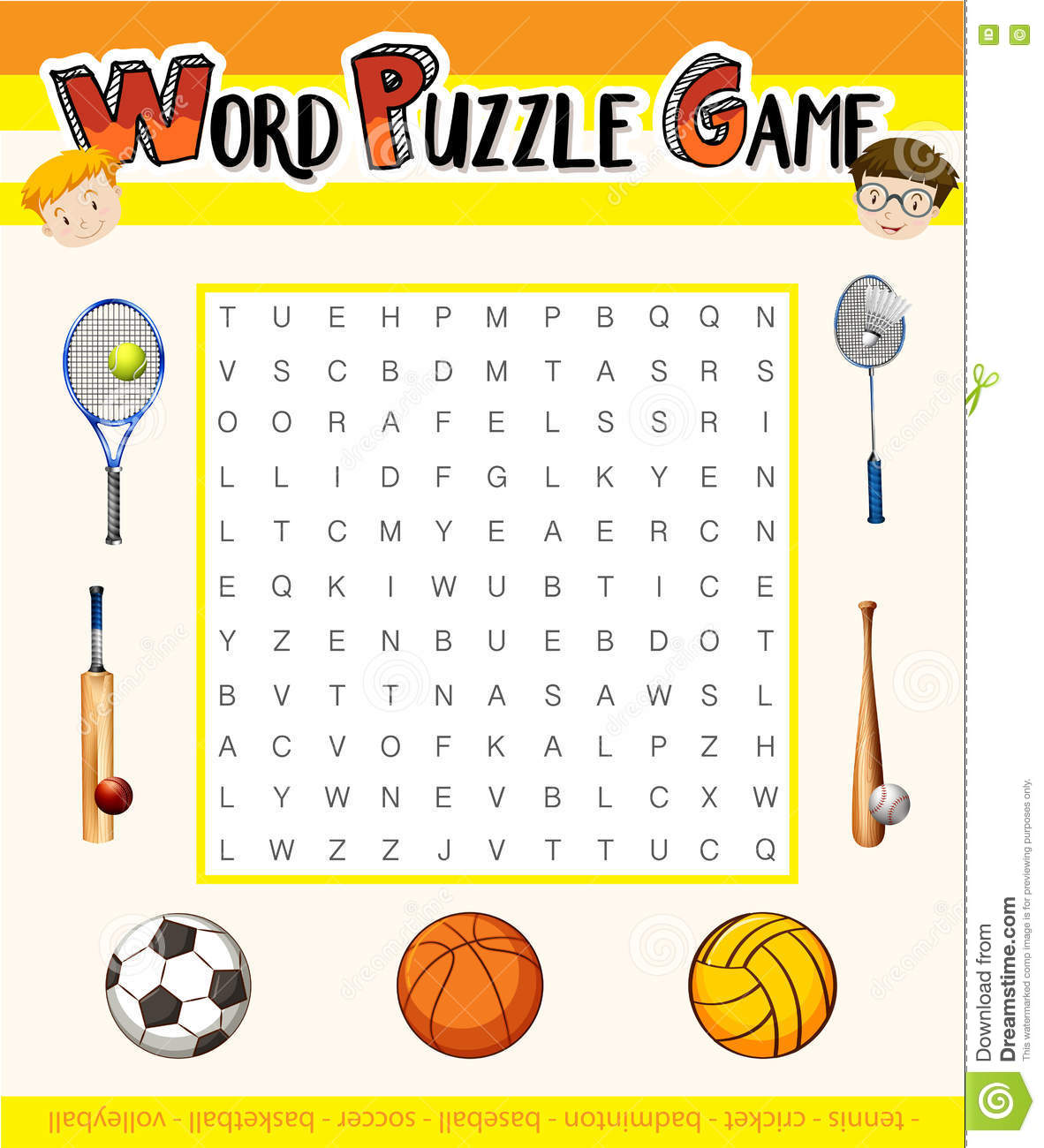 Word Puzzle Game With Sport Theme Stock Illustration