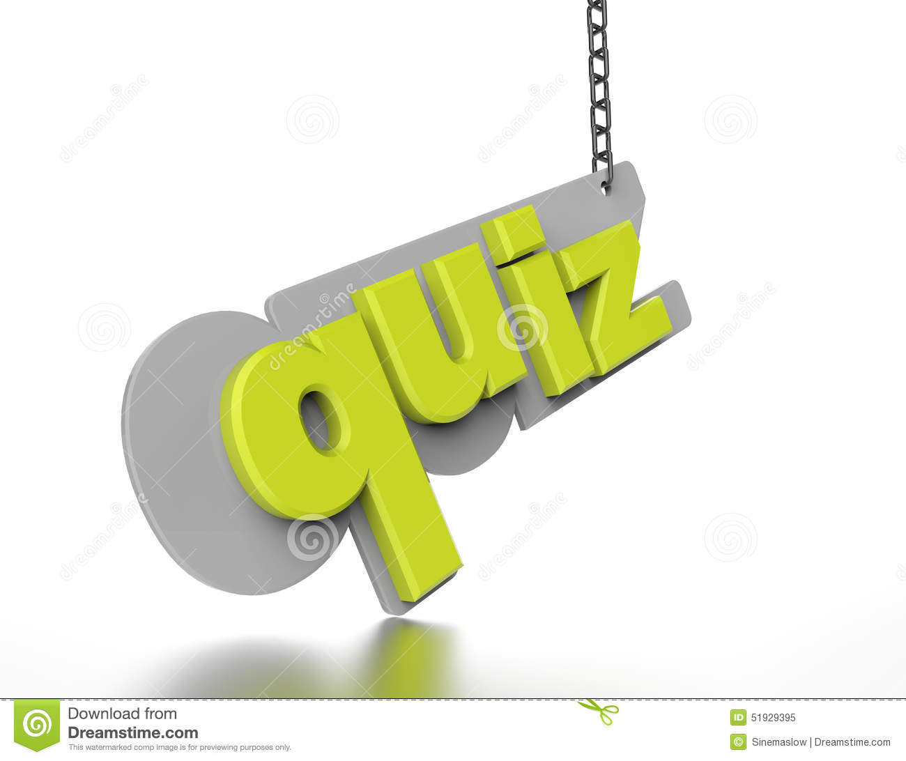 The Word Quiz In Green 3d Stock Illustration