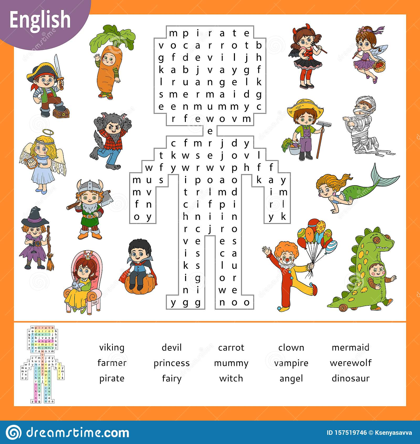 Word Search Puzzle Cartoon Halloween Characters