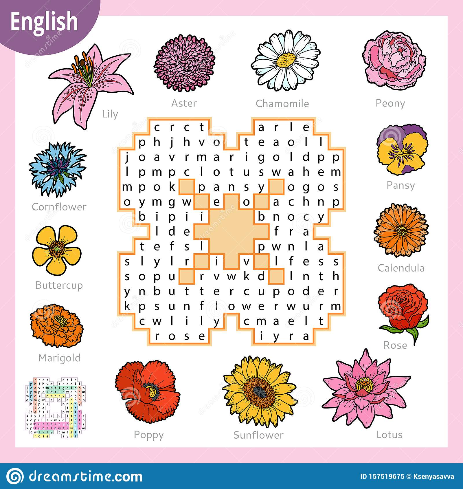 Word Search Puzzle Cartoon Set Of Flowers Education Game