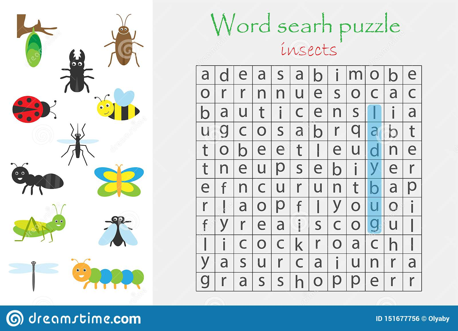 Word Search Puzzle For Children Insect Theme Fun
