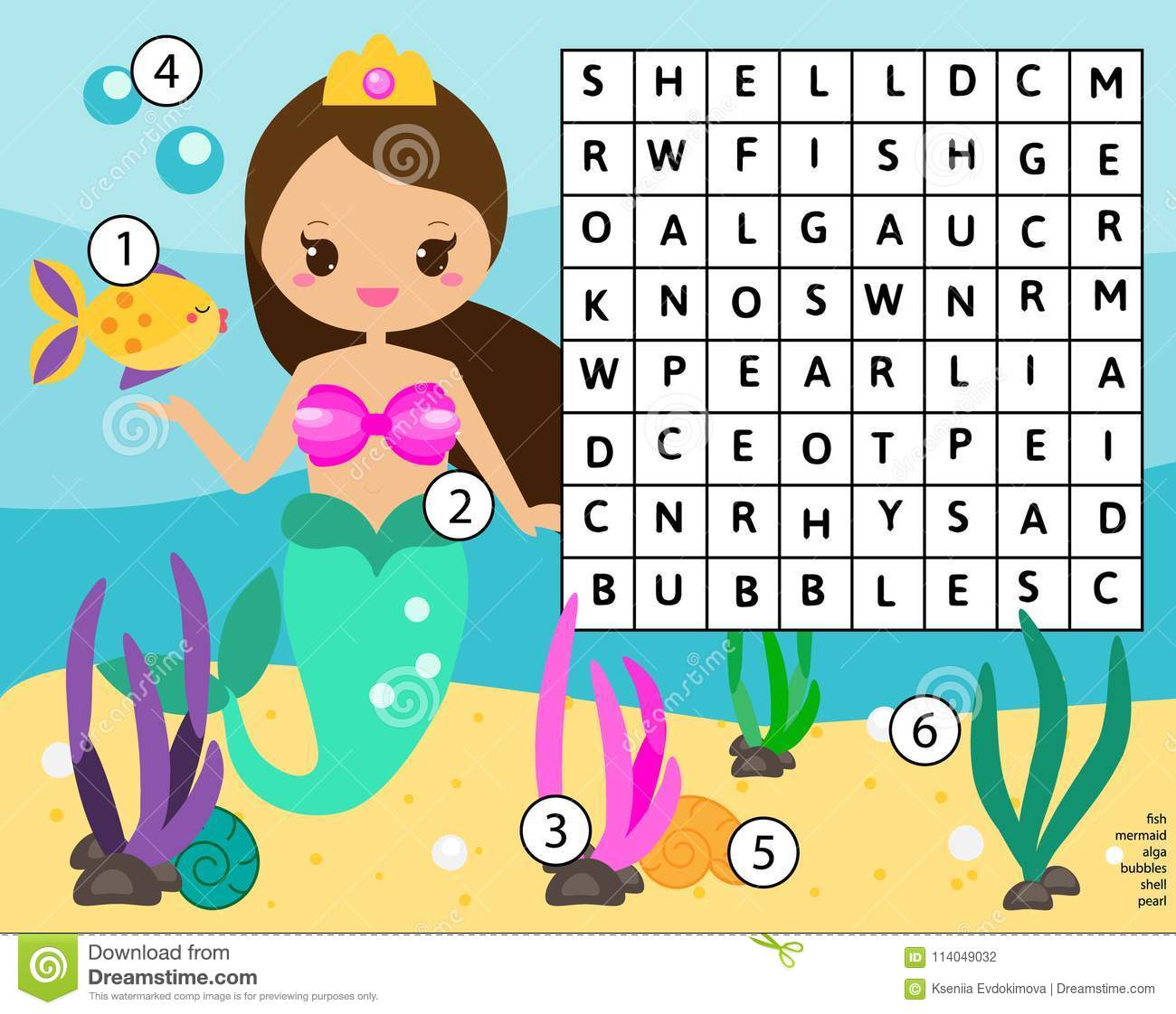Word Search Puzzle Kids Activity Educational Children