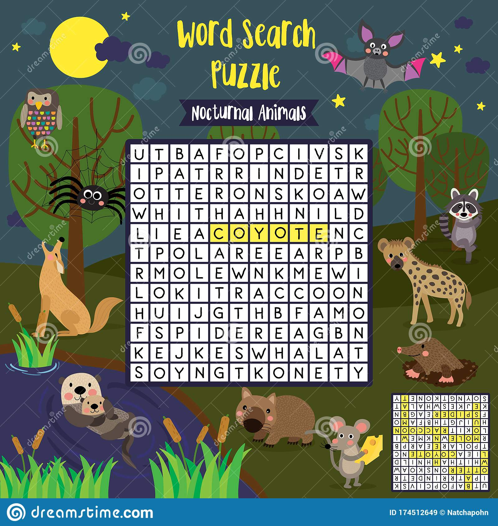 Word Search Puzzle Nocturnal Animals Stock Vector
