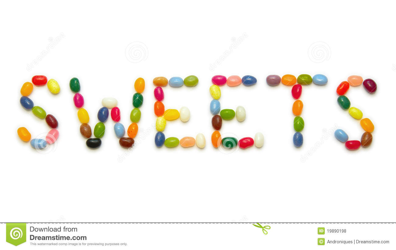 Word Sweets Made Of Jelly Beans On White Stock Photo