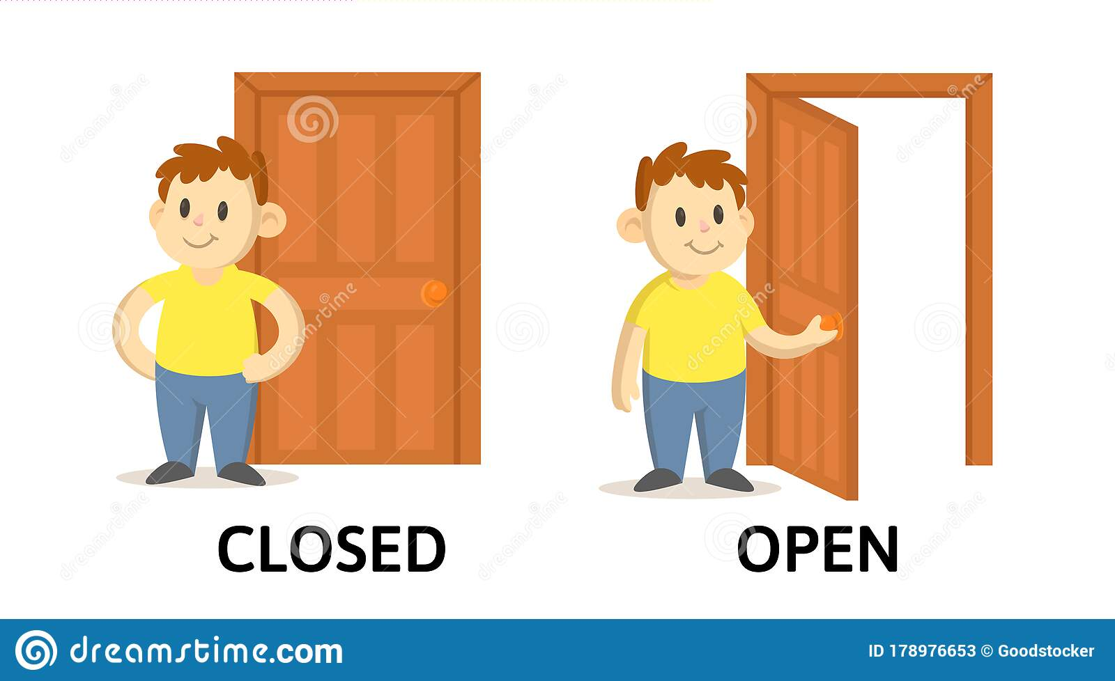 Words Closed And Open Flashcard With Cartoon Characters