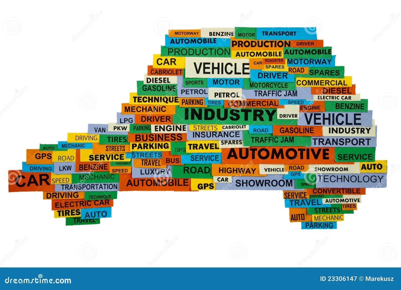 Words Describing The Automotive Industry Stock Image