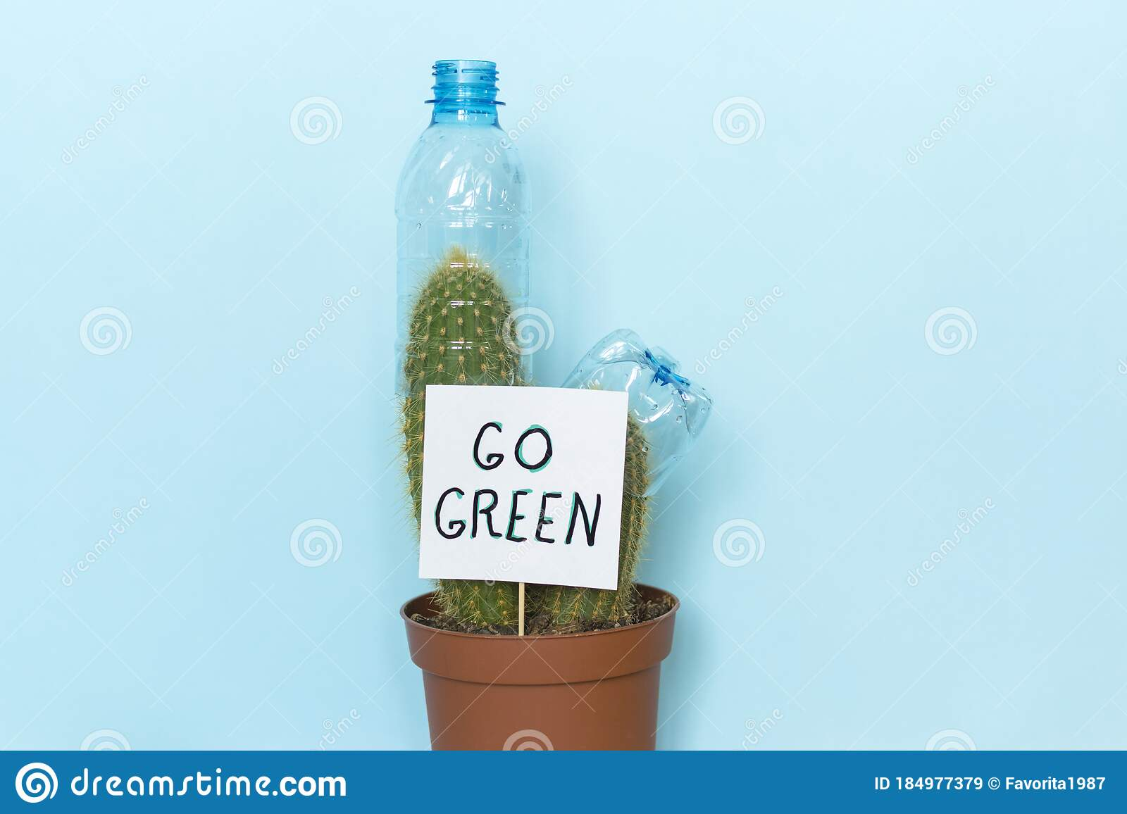 Words Go Green And Plastic Rubbish Stock Image