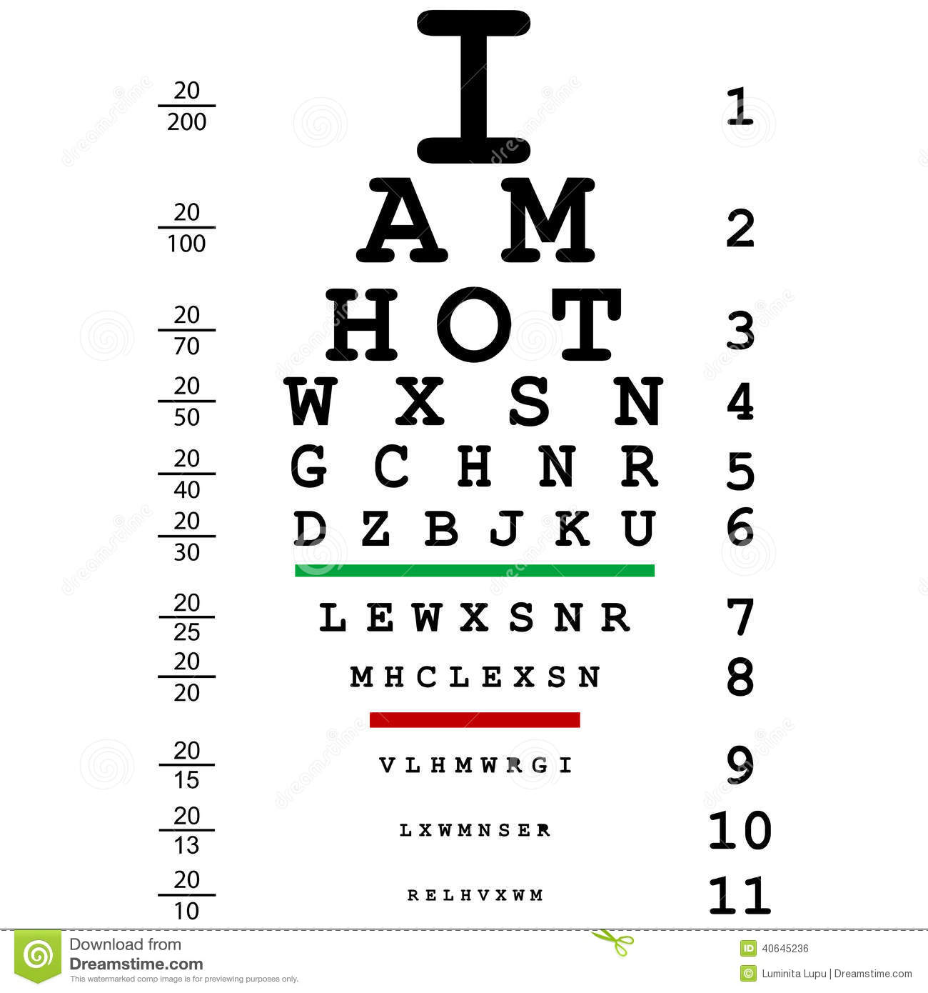 Words I Am Hot With Optical Eye Test Use By Doctors Stock