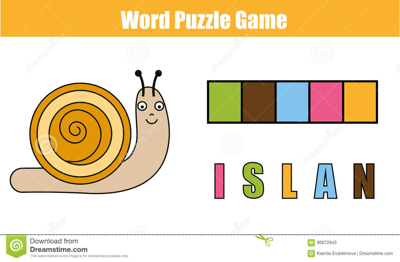 Words Puzzle Children Educational Game With Colorful Code