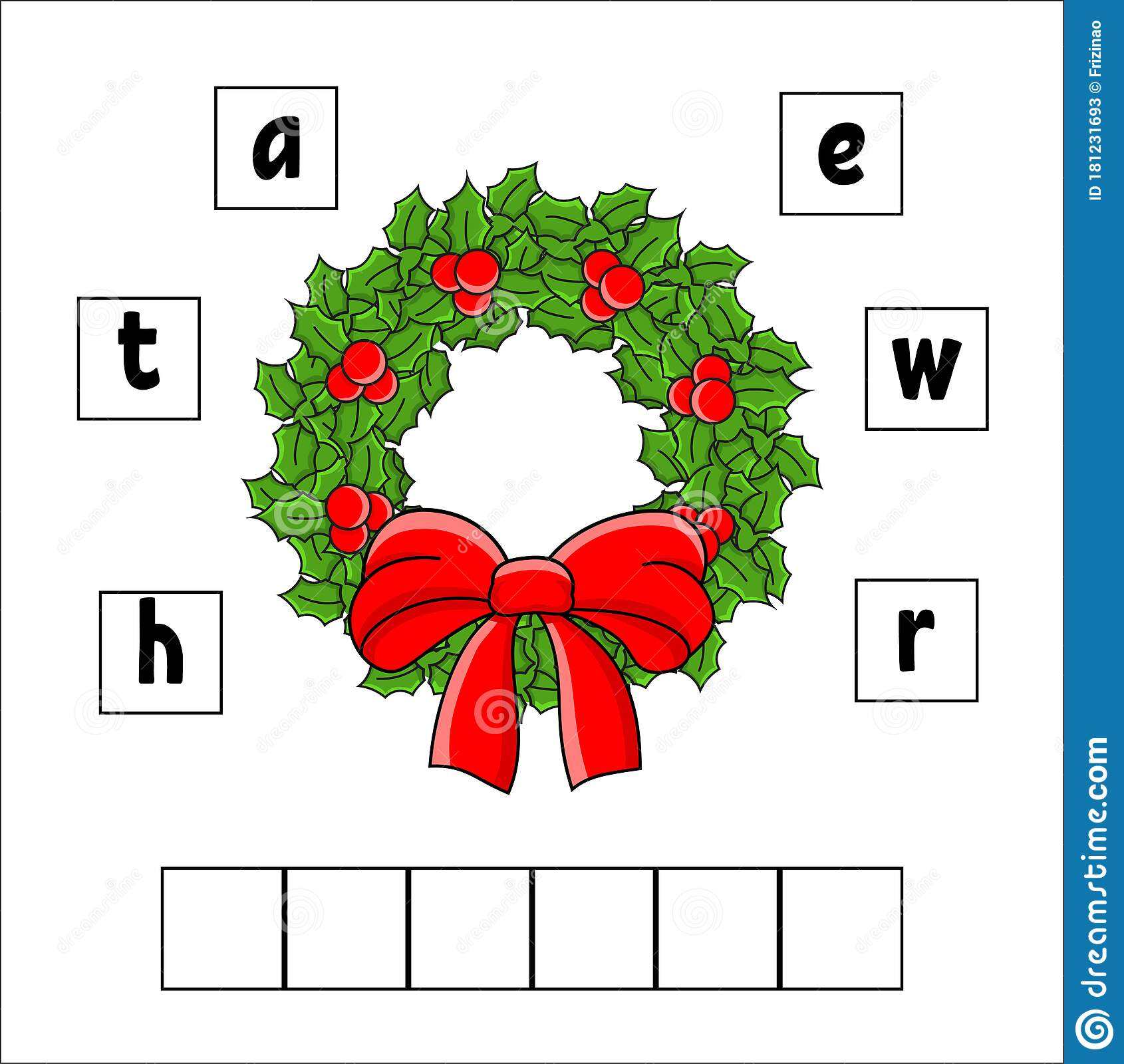 Words Puzzle Wreath Education Developing Worksheet
