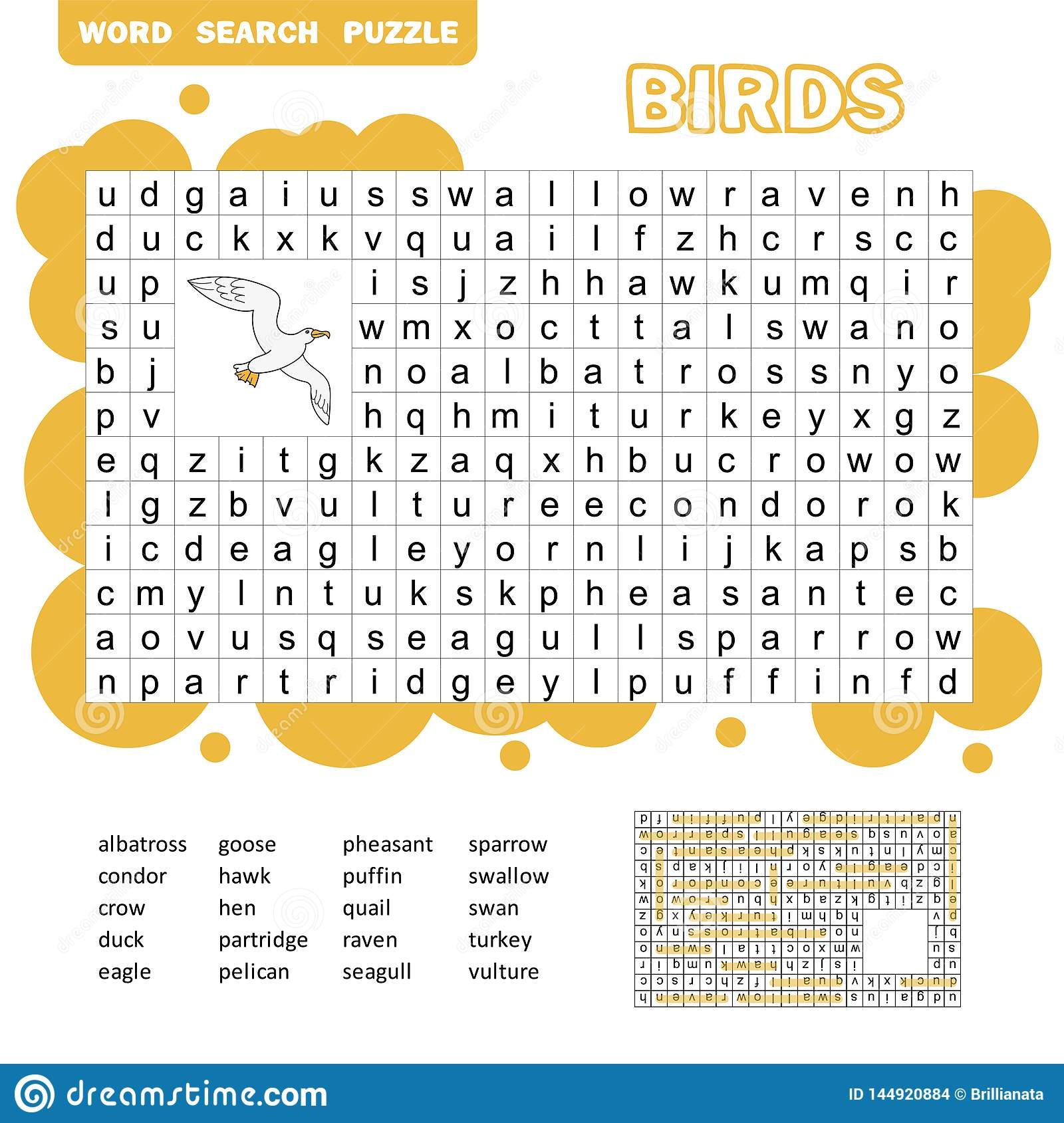 Words Search Puzzle Game Of Birds Animals For Kids