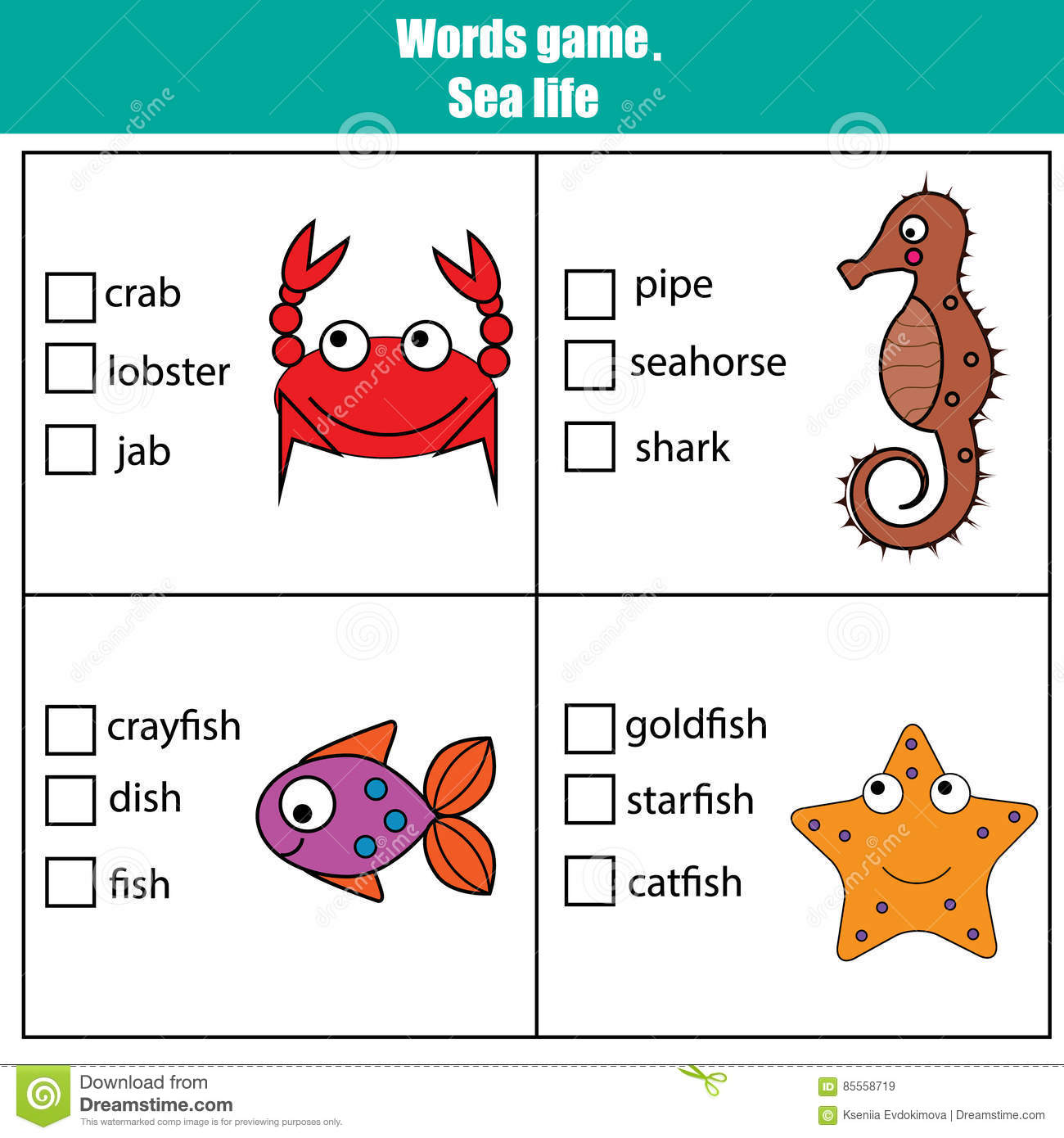 Words Test Educational Game For Children Sea Animals