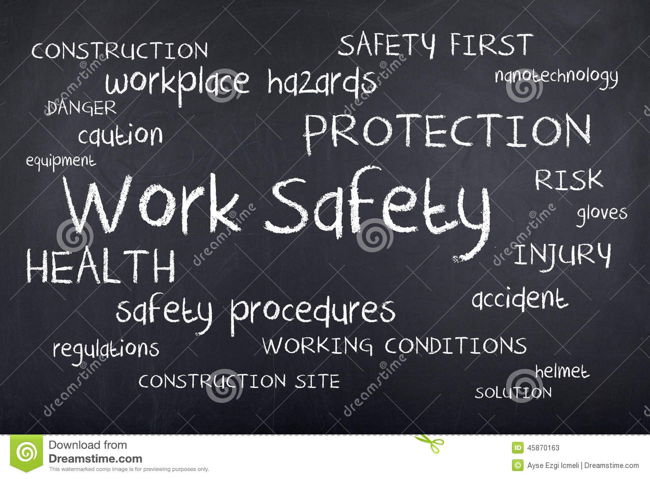 Work Safety Workplace Safe First Word Cloud Concept Stock