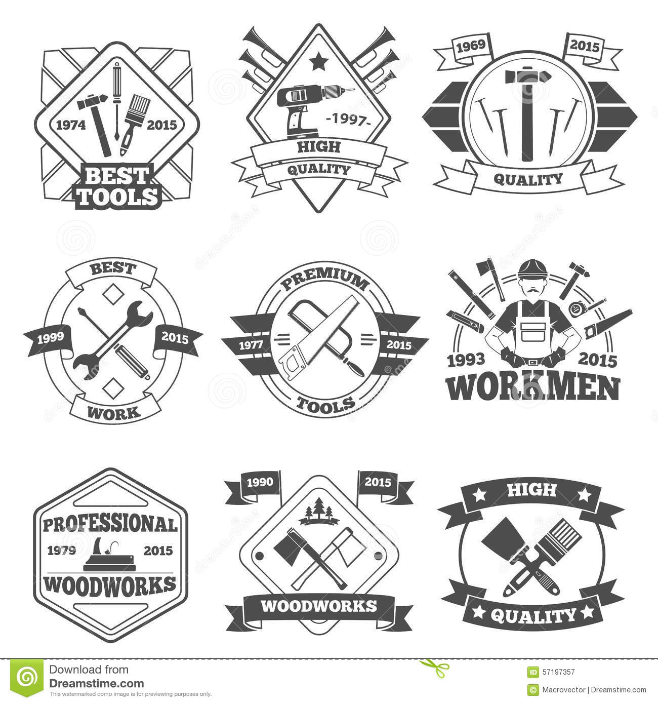 Work Tools Label Set Stock Vector