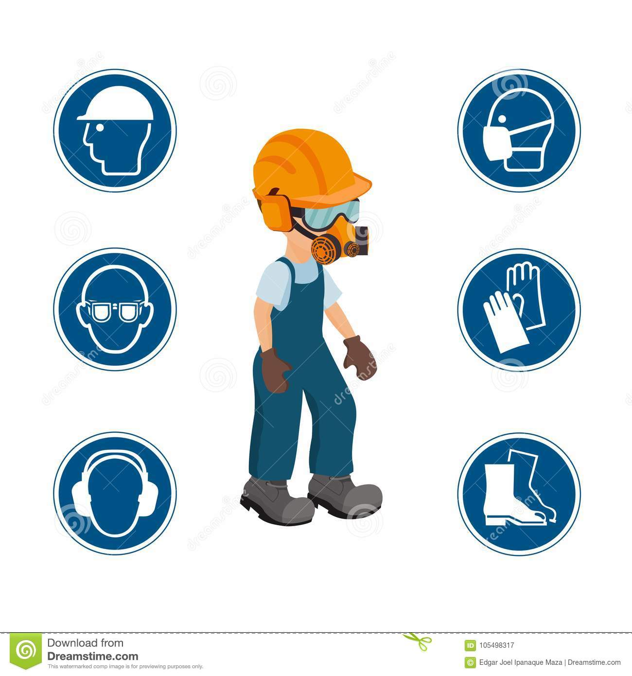 Worker With His Personal Protective Equipment And Security